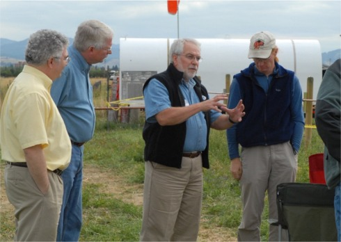 Gamble visits bee lidar site.