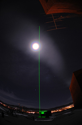 Lidar beam and lunar corona